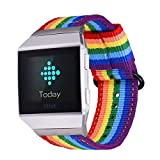 Bandmax Compatible Fitbit Ionic Rainbow Band,Breathable Nylon Watch Strap Replacement Wrist Band Black Plated Clasp Removable Loop Compatible Fitbit Ionic Smart Watch