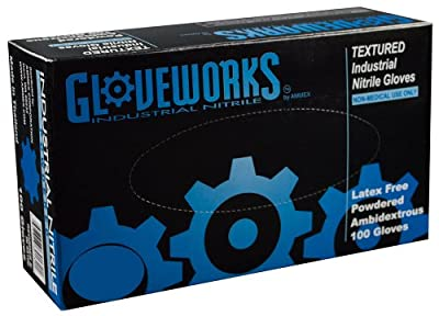 AMMEX - IN - Nitrile Gloves - Gloveworks - 100/Box, Disposable, Powdered, Industrial Grade, 5 mil, Blue
