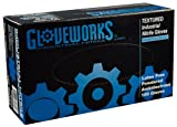 Ammex IN Gloveworks Blue Nitrile Glove, Latex Free, Disposable, Powdered, Small (Box of 100)