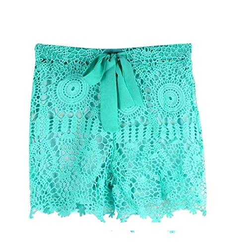 VESNIBA Womens Summer Elastic Waist Lace Crochet Beach Mini Shorts Hot Pants (S, Green)