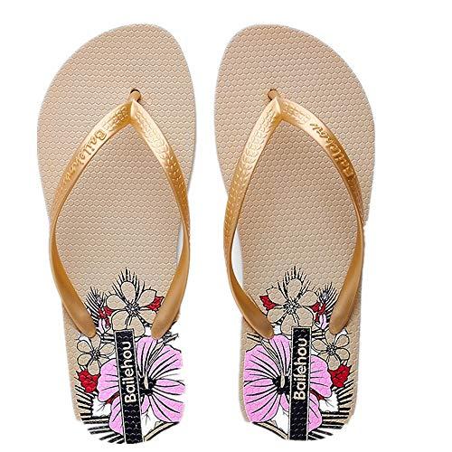 Flip Flops 40 Toe on Sandales Beige Femmes coloré De Flat Plage ZHRUI Fleur Taille Beige EU Clip Slip URw544q