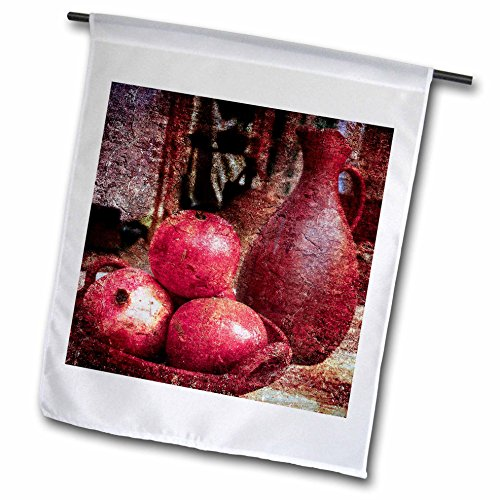 3dRose Alexis Photography - Still-Life - Still-life of an ancient pitcher and tree pomegranates on a plate - 18 x 27 inch Garden Flag (fl_276025_2) Tree Of Life Pottery