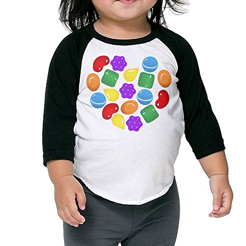 Grace Little Candy Crush Saga Geek Boys & Girls Infant 100% Cotton 3/4 Sleeve Raglan T-Shirts Unisex Black ()