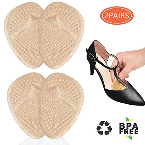 Metatarsal Pads for Women, Ball of Foot Cushions for High Heels All Day Pain Relief Forefoot Pads Heel Snugs Shoe Inserts, 2 Pairs