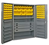 Durham Heavy Duty Welded 14 Gauge Steel Cabinet with 132 Bins, DCBDLP724RDR-95,  12 Door Shelves and 4 Drawers,  24'' Length x 36'' Width x 72'' Height,  1 Shelf,  Durable Gray Textured Coat Finish