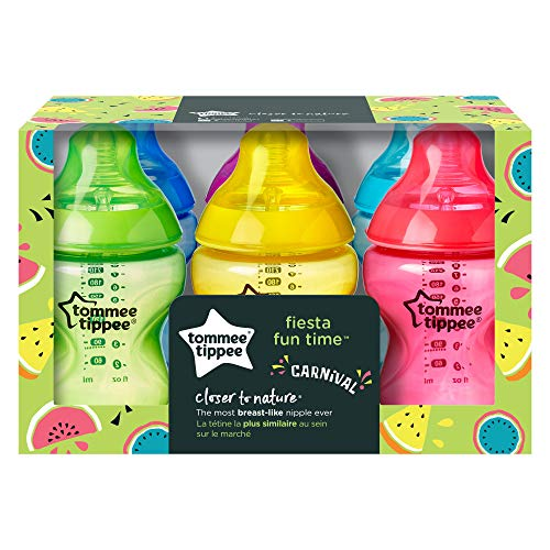 51BavZ8FvvL - Tommee Tippee Closer To Nature Fiesta Baby Feeding Bottles, Anti-Colic, Slow Flow, BPA-Free - 9 Ounces, Multi-colored, 6 Pack (522597)