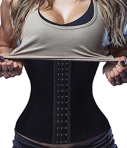 SAYFUT Waist Trainer Corset Weight Loss Sport Fat Burner Body Shaper Long Torso,Black Waist Cincher,Large (Waist 30.7-33inch)