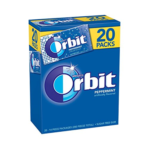 Orbit Gum, Peppermint - 2018 Fresh (14 Pieces per pack, 20 Packs per Box.)