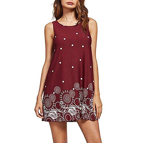 (HGWXX7 Women Summer Casual Plus Size Solid Chiffon Strap Beach A-Line Mini Dress (S, X-Wine) )
