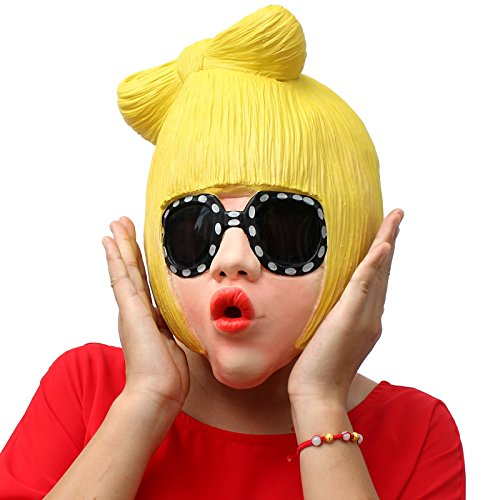 Dulex Novelty Latex Halloween Mask Full Head Mask Famous Singer Lady Gaga Mask for Creppy Party/Halloween (Halloween Clown Prosthetic Masks)