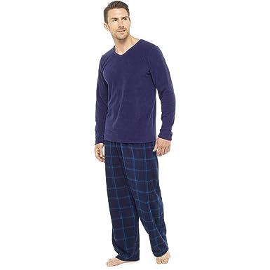 Mens Super Soft Check Print Warm Fleece Pyjama Nightwear Lounge Wear