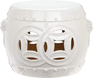 Safavieh Mei Double Coin Ceramic Decorative Garden Stool, Antique White