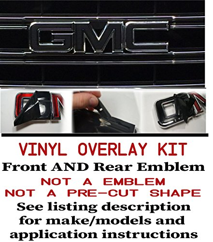 Oracal _ Shop Vinyl Design GMC FRONT and REAR Emblem Overlay Kit Yukon, Sierra, Denali, Acadia, Terrain - 651 BLACK MATTE - 2 KITS Front Rear Emblem