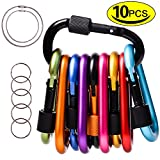 WIN.MAX Locking Carabiner, Aluminum D-Ring, Carabiner Keychain Hook Clip for Outdoor, Camping, Hiking, Traveling, Backpack (10 Pcs+5 Key Rings+2 Wire Keychain Cable) (2017)