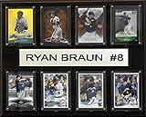MLB Milwaukee Brewers Ryan Braun 8-Card Plaque, 12 x 15-Inch, Brown