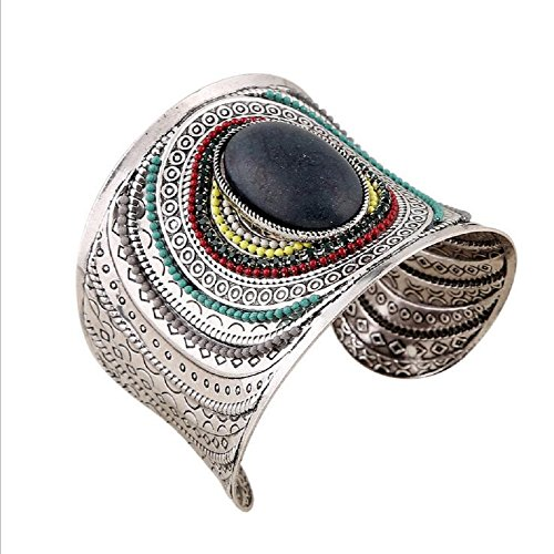 [Yuriao Jewelry Fashion Individuality Cuff Bracelet£¨black£] (Hindu Bride Costume)