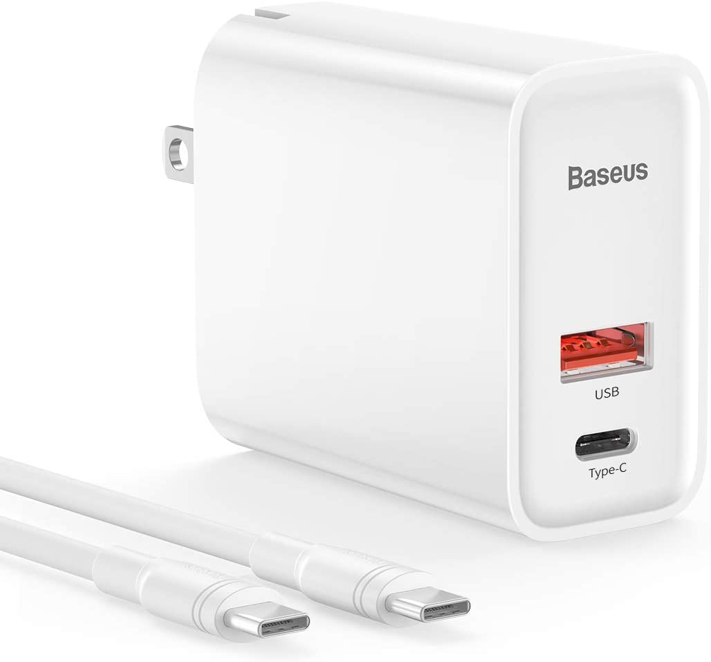USB C Wall Charger, Baseus 30W 2 Port Fast Charger with PD3.0 and QC3.0, Foldable Plug Charger with USB C Cable for iPhone 11/11 Pro/11 Pro Max/X/XS/Max/XR, Galaxy, MacBook Pro/iPad Pro/Air, and More