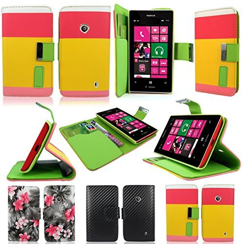 Cellularvilla (Tm) Case for Nokia Lumia 521 Pink Yellow PU Leather Wallet Card Flip Open Case Cover Pouch. (Only Fit Nokia Lumia 521)
