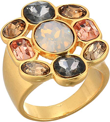Vince Camuto Women's Drama Ring Worn Gold/Smoky Quartz/Greige/Light Grey Opal/Vintage Rose One Size