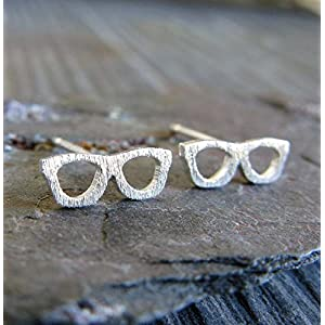Eye Glasses tiny stud earrings brushed sterling silver geek jewelry. Optician gift. Handmade in the USA.