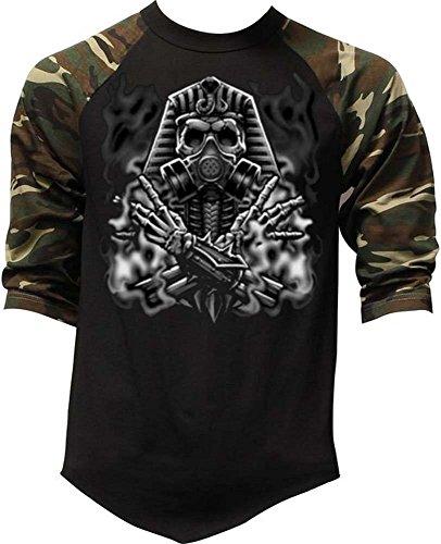 - Men's Egyptian Gas Mask Skull Tee Black/Camo Raglan Baseball T-Shirt Medium Black/Camo