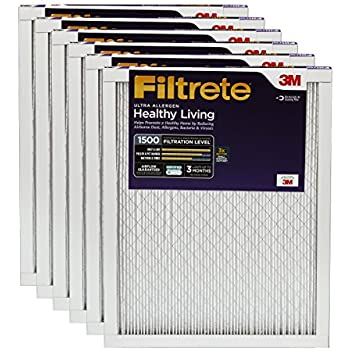 Filtrete MPR 1500 12 x 12 x 1 Healthy Living Ultra Allergen Reduction AC Furnace Air Filter, 6-Pack