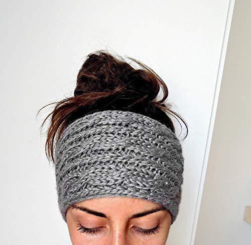 Chunky Cable Knit Ear Warmer Headband, Thick and Cozy Ear Warmer - Grey
