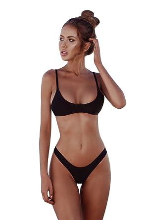 3133fe0467338 JINJINYI Womens Bikini Set Thong Bikini Swimsuit Set Sexy High Cut Bralette Bathing  Suits Two Piece  Amazon.co.uk  Clothing