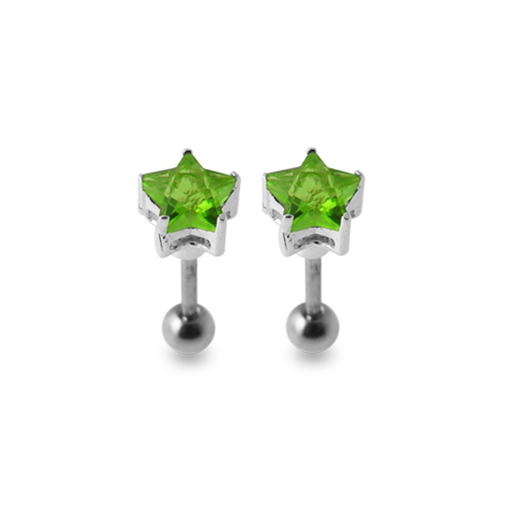 Light Green Star CZ Stones Sterling Silver with 16 Gauge Surgical Steel Stud Earring Tragus Earring