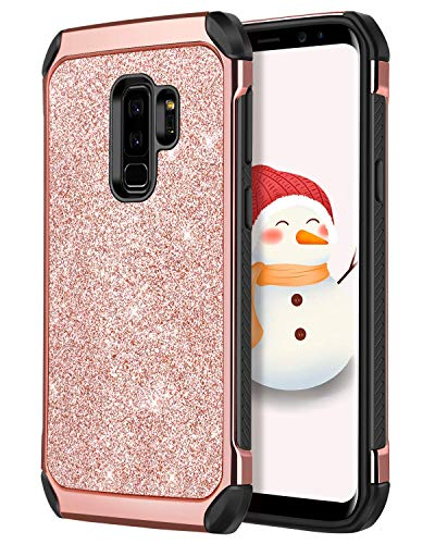 Galaxy S9 Plus Case,S9+ Case, DUEDUE Glitter 2 in 1 Shockproof Slim Soft TPU Bumper Hybrid Hard PC Cover Bling Sparkly Faux Leather Protective Phone Case for Samsung Galaxy S9 Plus for Women,Rose Gold