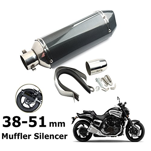 Qlhshop Universal 1.5-2'' Motorcycle Inlet Exhaust Muffler Pipe with Removable DB Killer for Street/Sport Motorcycles and Scooters with 38-51mm Diameter Exhaust Pipes (Black) by Qlhshop (Image #2)