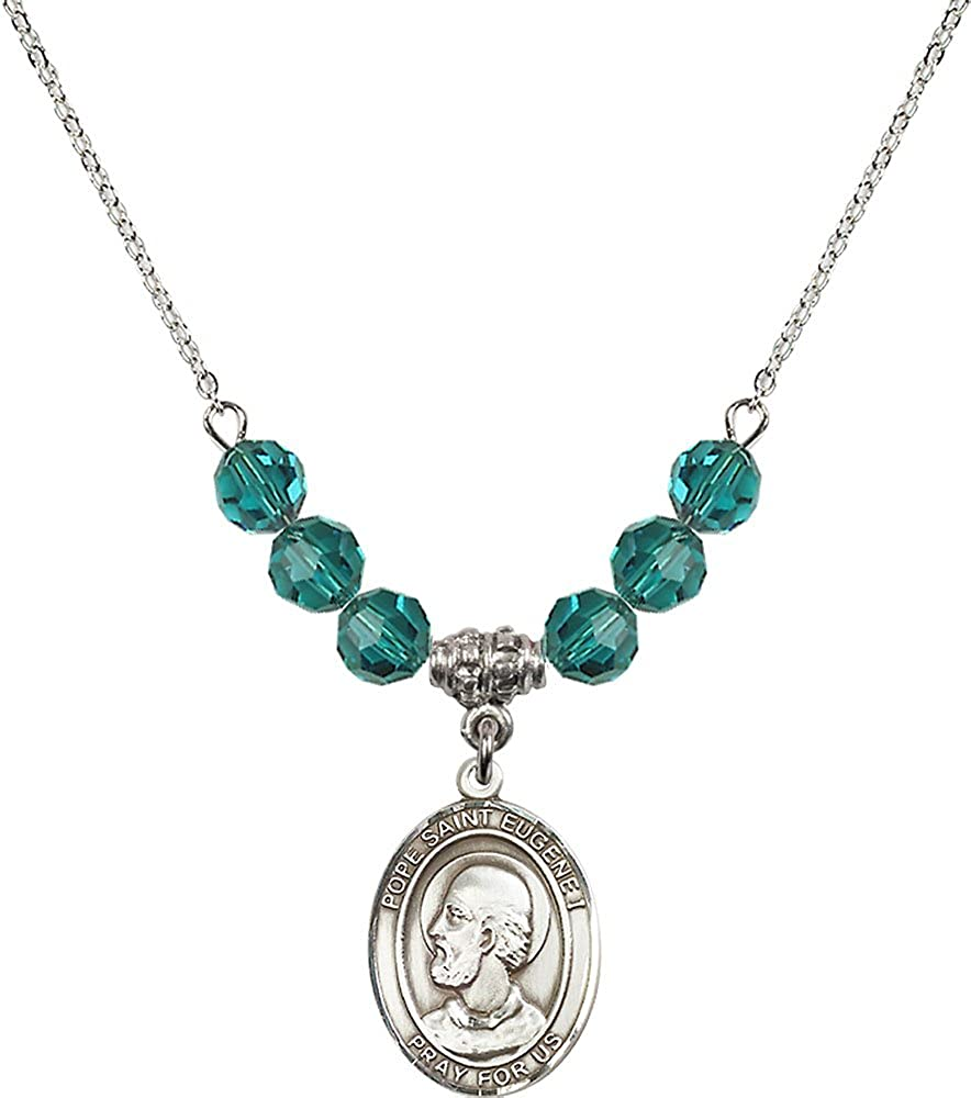 18-Inch Rhodium Plated Necklace with 6mm Zircon Birthstone Beads and Sterling Silver Pope Saint Eugene I Charm.