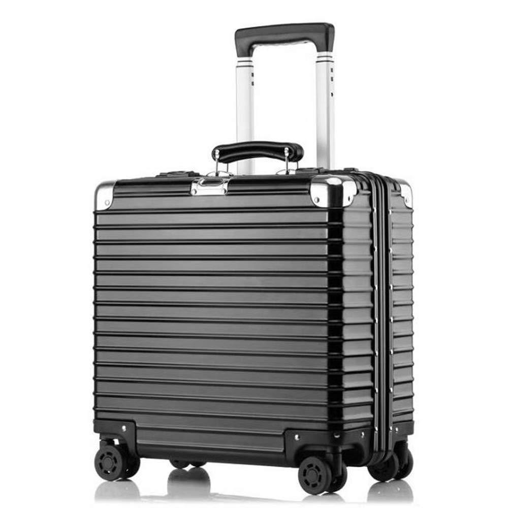 スーツケース超軽量アルミマグネシウム合金ビジネスミュートトロリーケースユニバーサルホイール便利なトラベルボックス搭乗荷物 43*21*47cm B07SJD76W3 Black