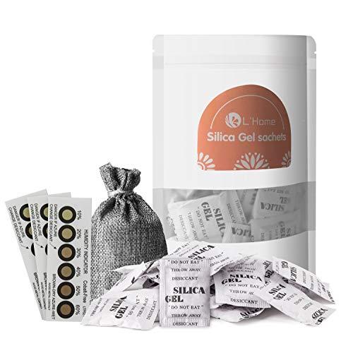 LHome 5g × 50 silica gel bolsas antihumedad,gel silica desecante Regenerative (bolsa de regalo y tres tarjetas de humedad)