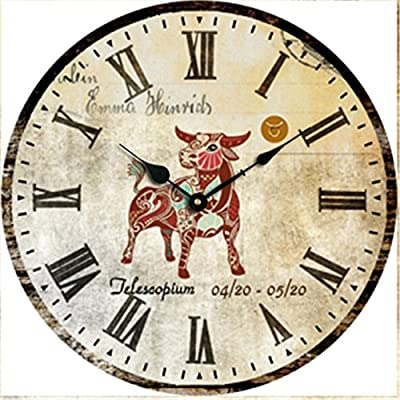 Caribou Chic Vintage Style Round Wooden Wall Clock 40 cm ?Diameter 40 cm? ?A perfect gift