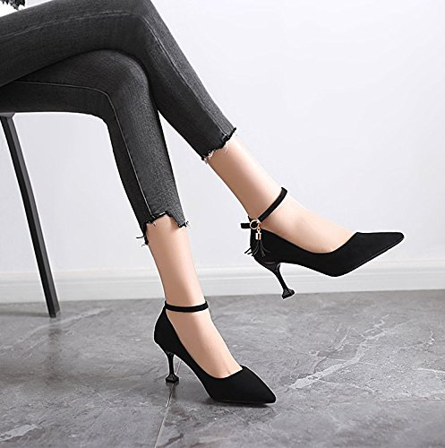 Heels Lady Black With Fine All High 7Cm 34 A Point Work Buckle MDRW Spring Match Shoes Elegant A Shoes Leisure Single 0wqvaFd