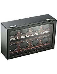 459356 Roadster 8 Piece Watch Winder with Cover, Black