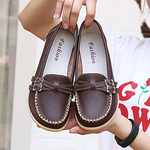 GESIMEI Womens Flat Leather Loafers Slip On Moccasins Work Driving Walking Boat Shoes Casual Shoes Brown meu5oEfRj