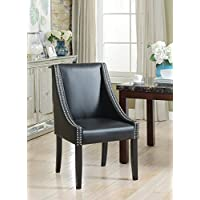 Iconic Home Lincoln Modern Black Leather Silver Nailhead Trim Swoop Arm Dining Chair (Set Of 2)