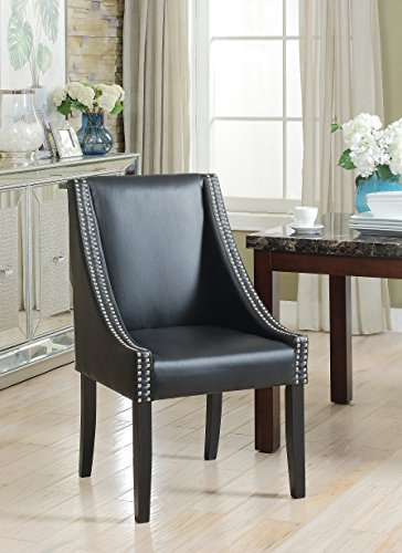 Lincoln Modern Black Leather Silver Nailhead