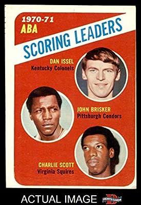 1971 Topps # 146 ABA Scoring Leaders John Brisker / Dan Issel / Charlie Scott Kentucky / Pittsburgh / Virginia Colonels / Condors / Squires (Basketball Card) Dean's Cards 3 - VG Colonels / Condors / Squires
