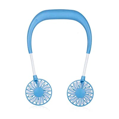 Sacow Mini Neck Fans, Portable USB Rechargeable Neckband Lazy Neck Hanging Dual Cooling Fan: Toys & Games
