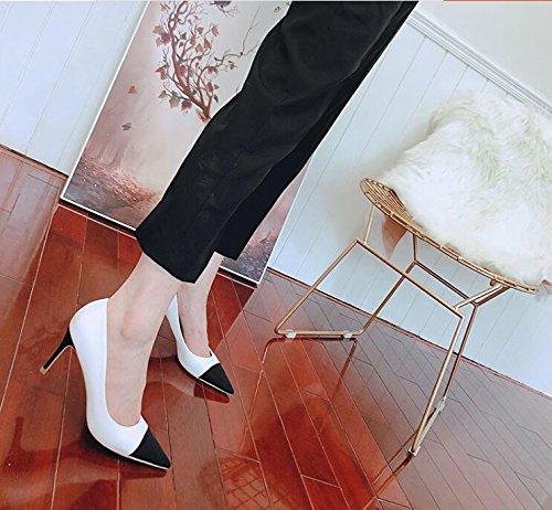 Xue Zapatos Boca Altos de as con Femeninos de Qiqi Salvajes Zapatos 41 Baja 7CM Finos Mujeres Solos Corte de Peque Blanco Tacones acentuadas Frescas la FrXxCrfnqw