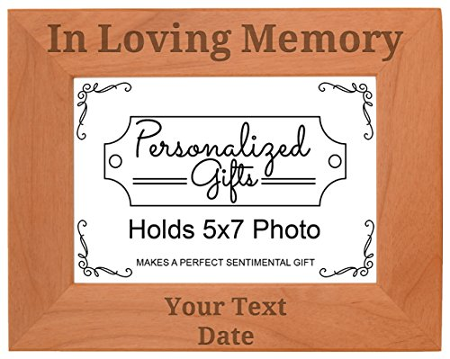 ThisWear Personalized Remembrance Frame Custom Name in Loving Memory Custom Remembrance Gifts Natural Wood Engraved 5x7 Landscape Picture Frame Wood ()