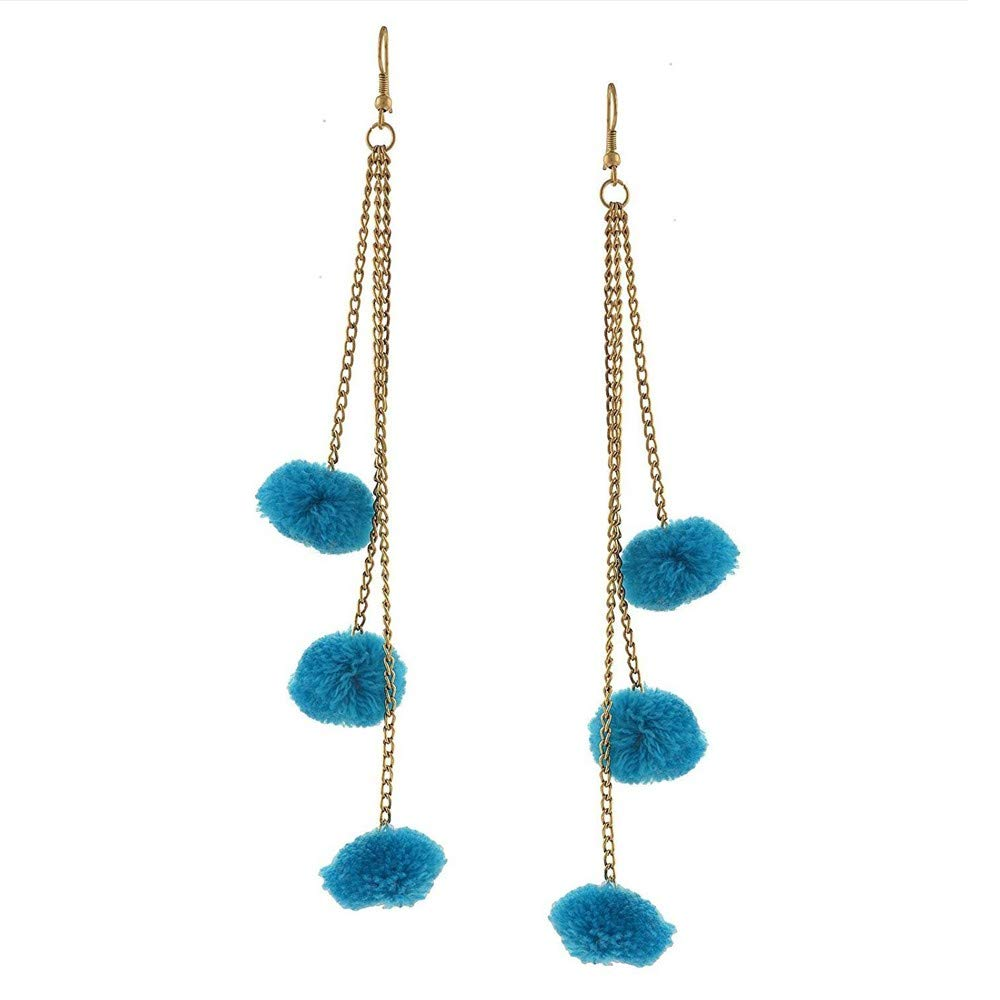 Nathis Blue Hook Dangle Tassel Long Funky Earrings Valentines Day By Sizzling Silver