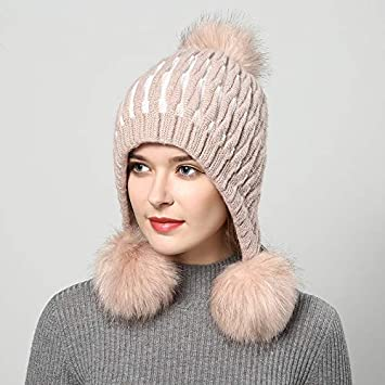 f45f51acea4 HOKUGA  2018 winter hats for women hat with fur women s knitted hat beanie  pompom Thicker