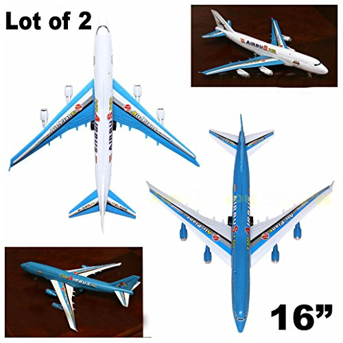 Lot Of 2  Two  A380 Big Pull Cord Commercial Airplane Plane Assemble Toy Fun