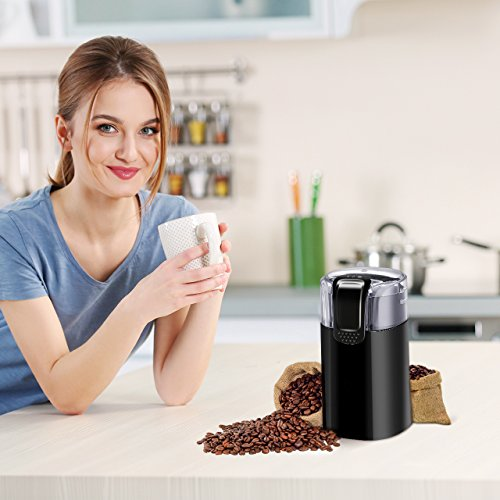 Electric Coffee Grinder, Atmoko Conical Burr Grinder and Spice Grinder with Multi-functional Stainless-Steel Blades, Removable Transparent Cover, Cord Storage, Brush, Portable Coffee Mill, Black by Atmoko (Image #6)