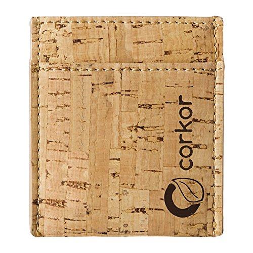Corkor Vegan Front Pocket Wallet Men Minimalist Slim Cards Eco Durable Rustic Cork