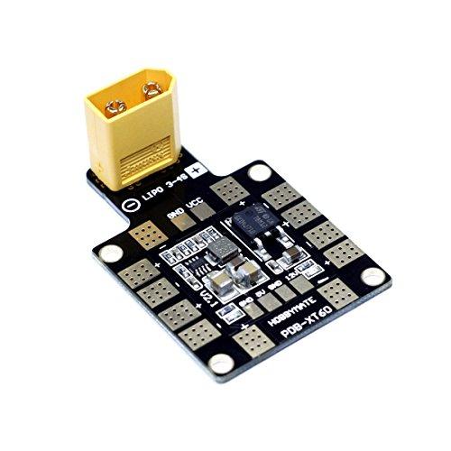HOBBYMATE PDB-XT60 Power Distribution Board BEC-5V/2A 12V/0.5A - for FPV Racing Quadcopter Multirotor w/ XT60 Plug